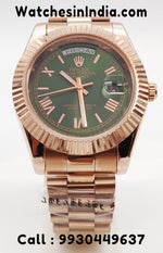 Rolex Day-Date Green dial Full Rose Gold Automatic Watch