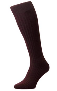 Pantherella Danvers Long Knee High Cotton Lisle Socks | Burgundy