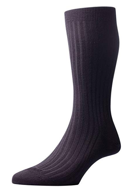 Pantherella Laburnum Men's Over the Calf Wool Socks | Black (Extra Large)