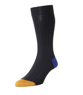Pantherella Stratford Merino Wool Two-Toned Mid-Calf Men's Socks | Navy