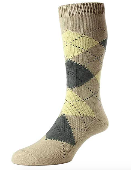 Pantherella Turnmill Cotton Mid Calf Men's Argyle Socks | Khaki