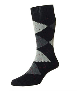 Pantherella Turnmill Cotton Mid Calf Men's Argyle Socks | Various Colors
