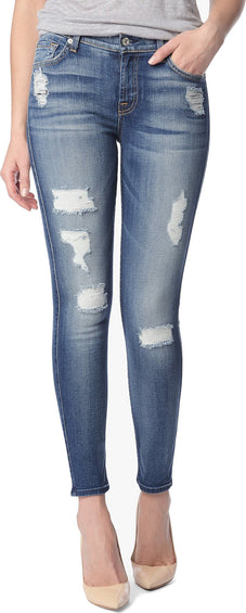 7 For All Mankind The Ankle Skinny Destroy - Distressed Authentic Light - Women's