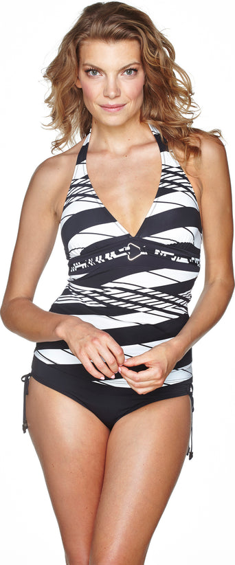 24b318e9ae9 Loading spinner Everyday Sunday Black tankini halter - Women's True White