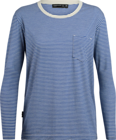 Icebreaker Luxe Lite Long Sleeve Pocket Crewe Stripe - Women's