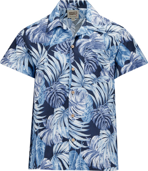 Naked & Famous Aloha Shirt - Tropical Leaves Navy - Men's