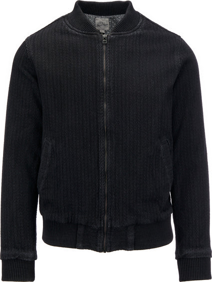 Naked & Famous Bomber Jacket - Black Dobby Denim - Men's
