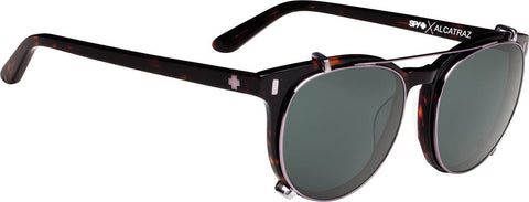 Spy Alcatraz - Dark Tort - Happy Gray Green Polarized Clip Lens - Women's