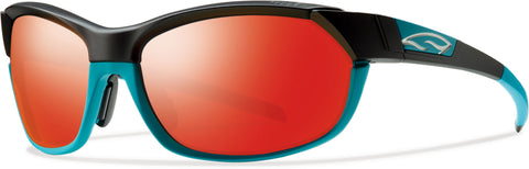Smith Optics Pivlock Overdrive - Black Turquoise - Carbonic TLT Red Sol-X Mirror Lens