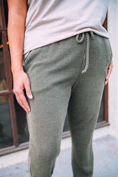 Army Green Ribbed Joggers close up