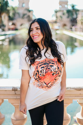 Big Cat Graphic Tee Close up