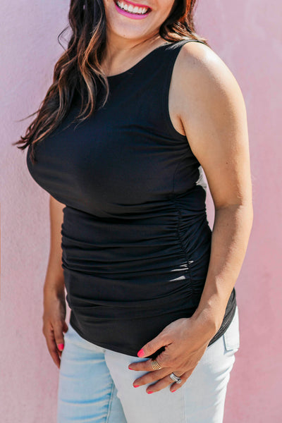Black Tank Top with Side Ruched Detail close up