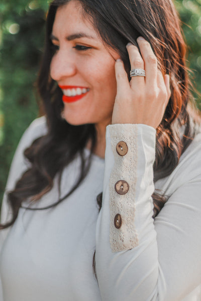 Dreamy White Long Sleeve with Button Details close up