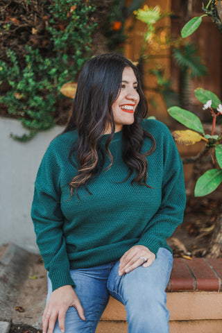 Emerald Green Crewneck Sweater close up