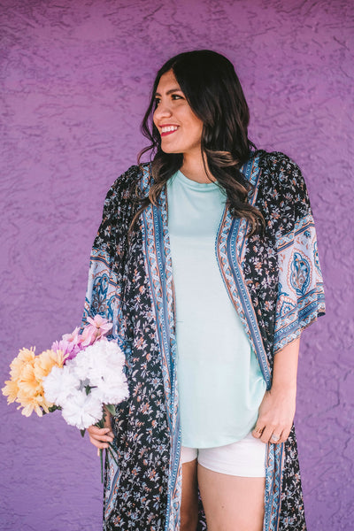 In Your Dreams Floral Boho Kimono close up