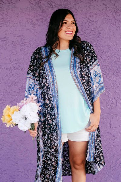 In Your Dreams Floral Boho Kimono full view