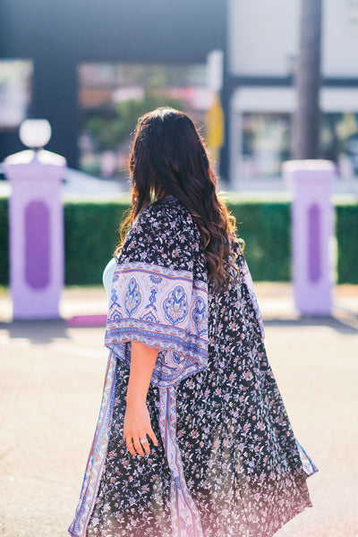 In Your Dreams Floral Boho Kimono back view
