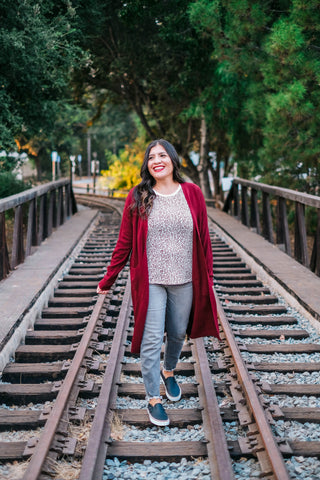 Long Sleeve Burgundy Cardigan with Pockets full view