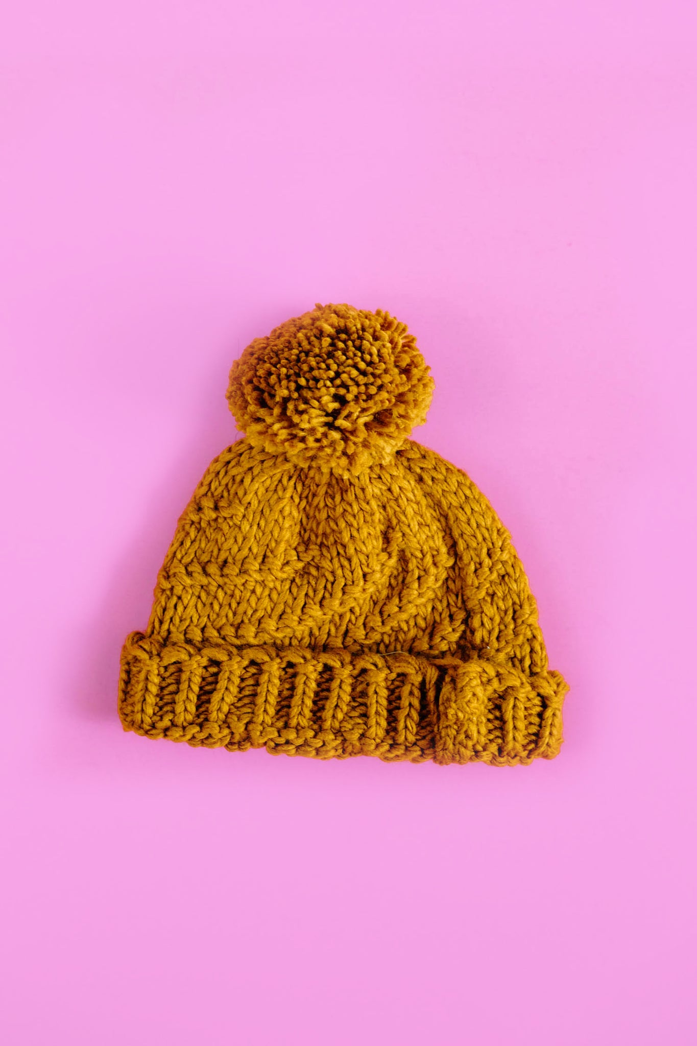 Mustard Beanie with Pom Pom Detail