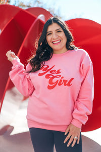 Hot Pink Yes Girl Crew Neck Sweater full view