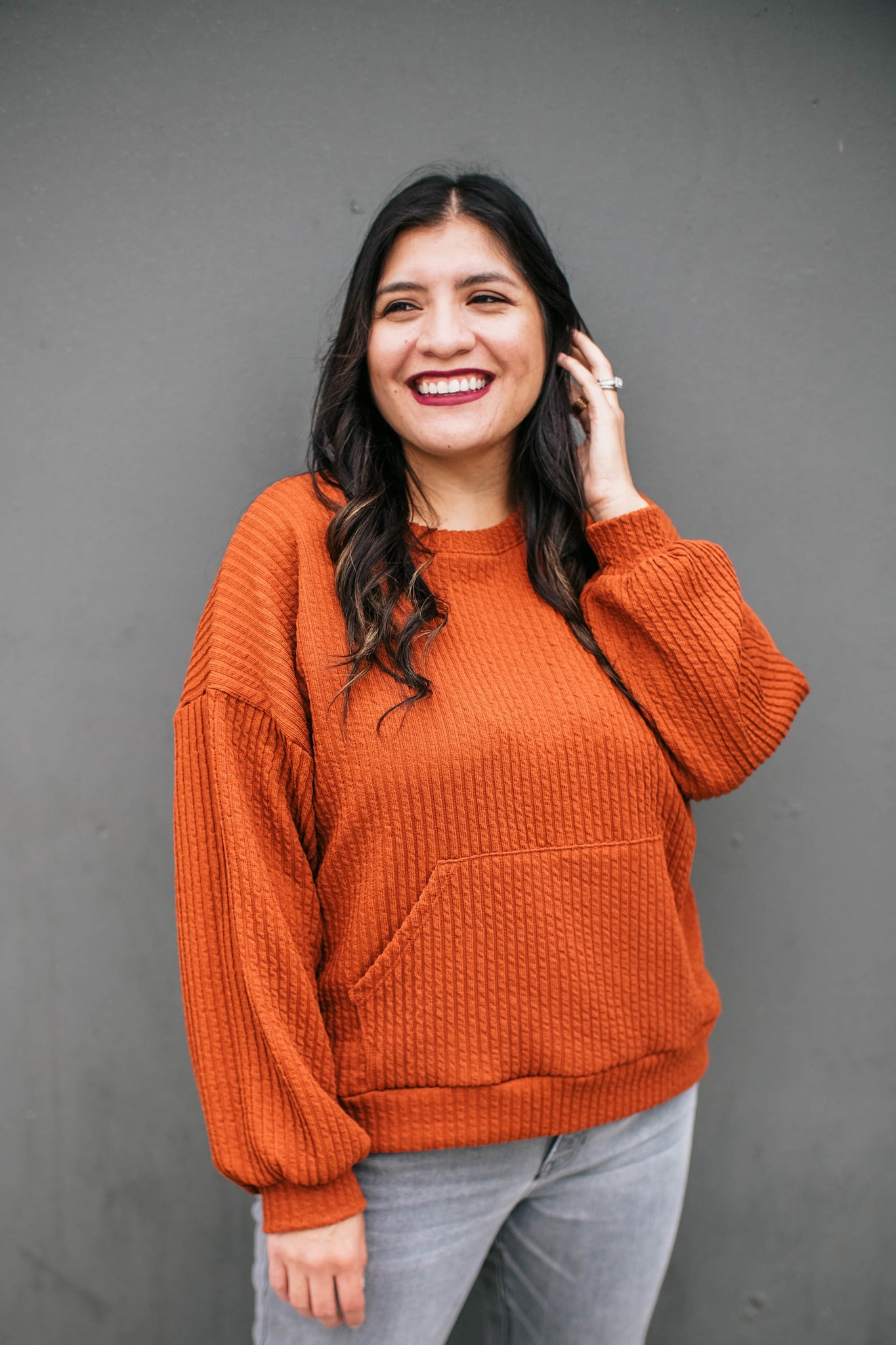 Rust Ribbed Sweater with Pillow Sleeves Full View