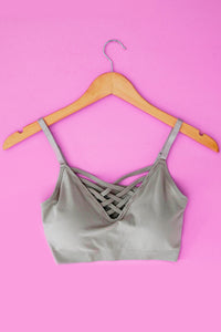 Tan Strappy Bralette with Adjustable Straps