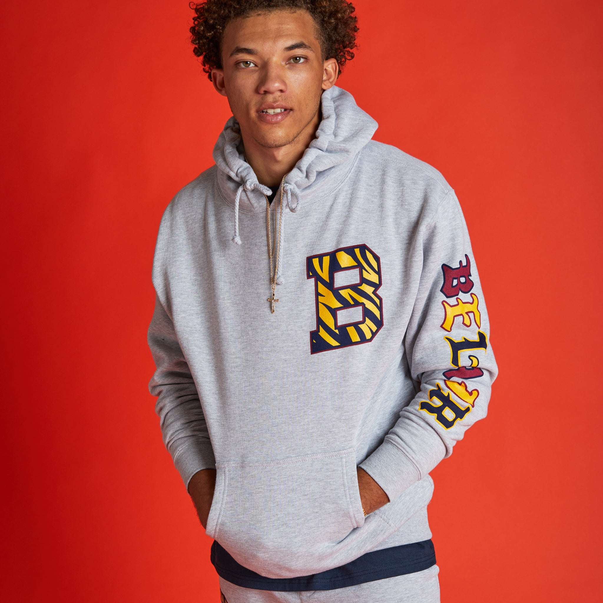 Bengal B Hooded Sweatshirt Heather Grey Image  #2