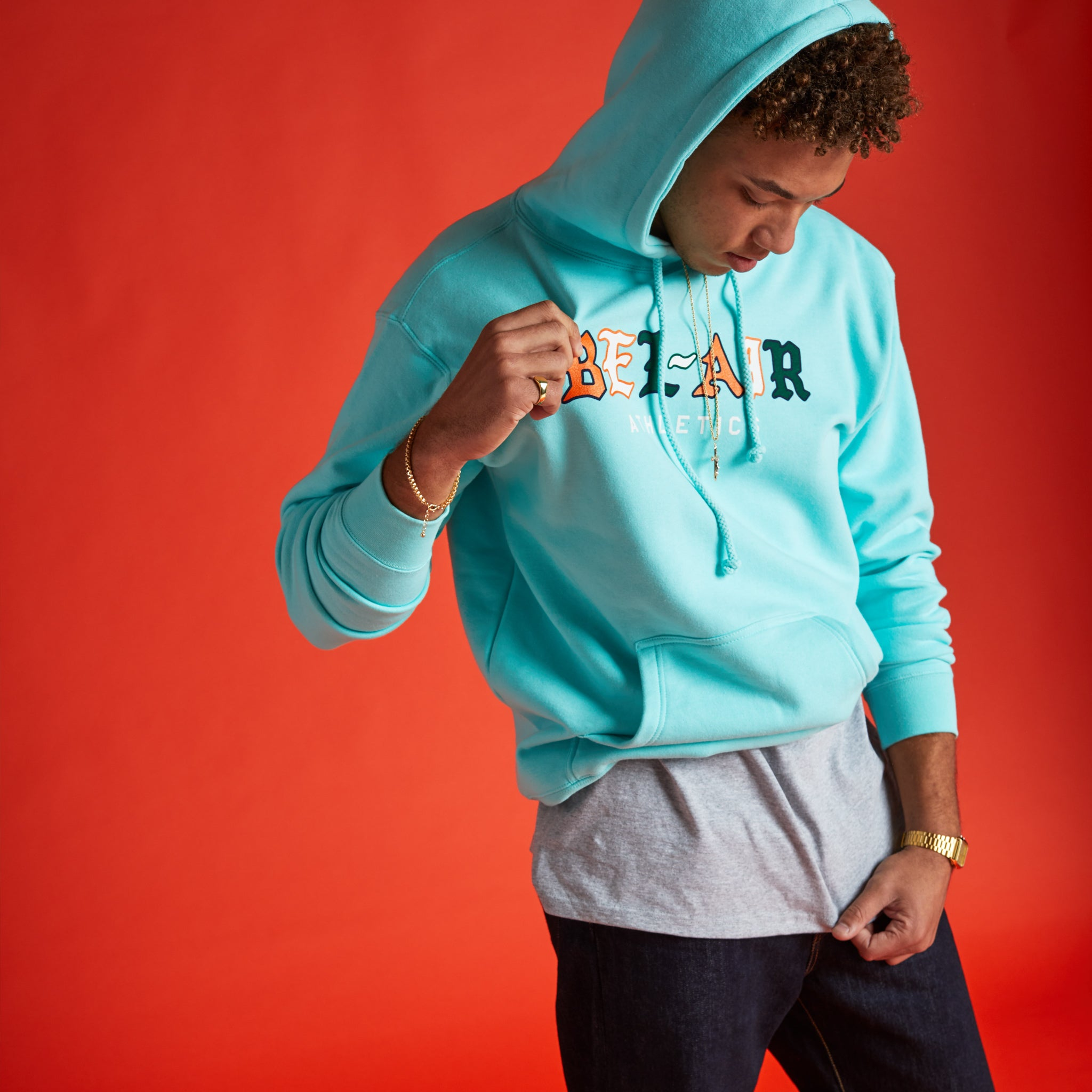 Gothic Mark Hooded Sweatshirt Teal Image  #2