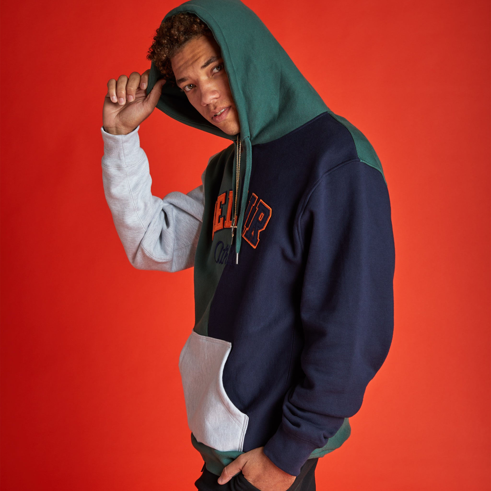 Split Time Hooded Sweatshirt Navy Image  #2