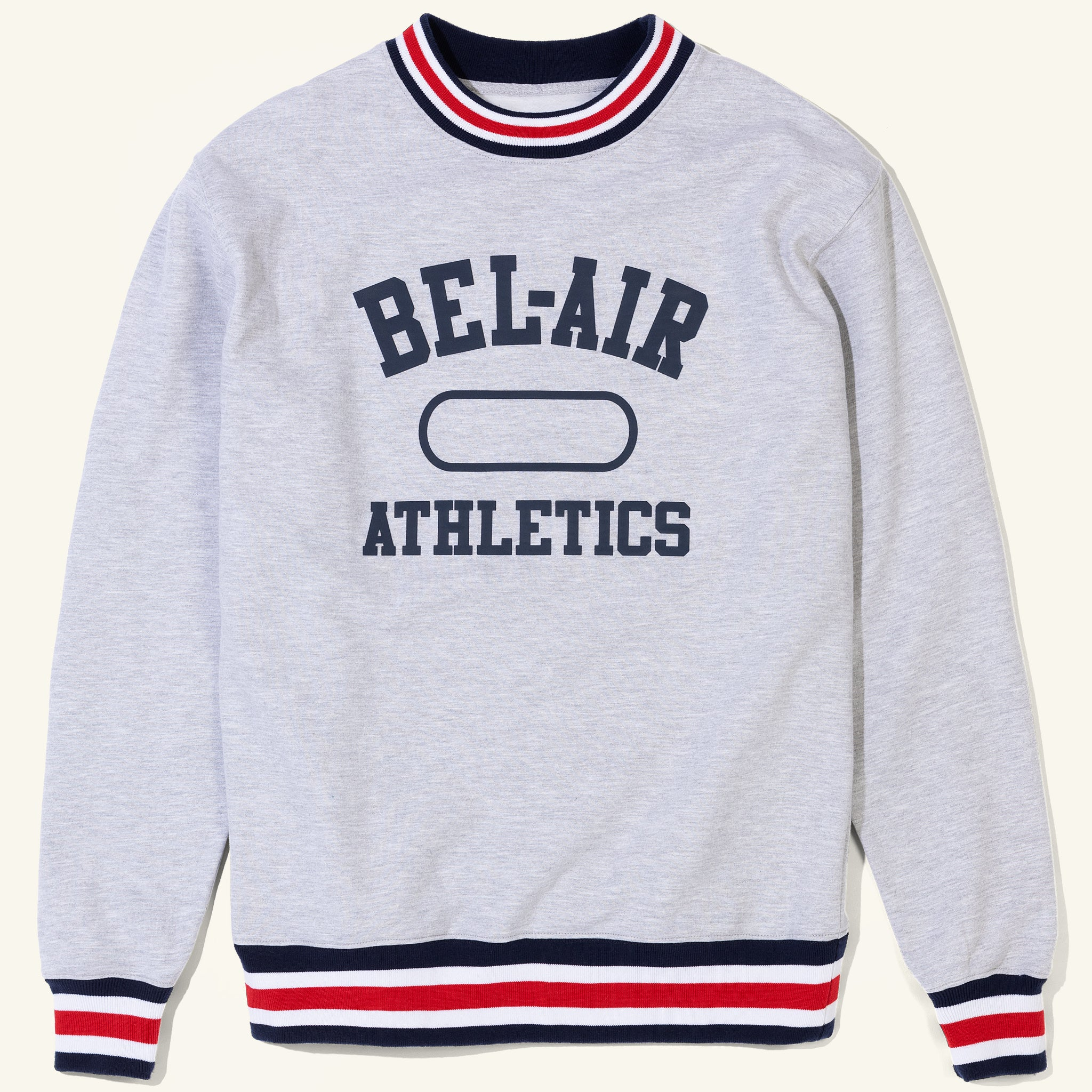 Bel Air Athletics Striped Crew Heather Grey Image  #1