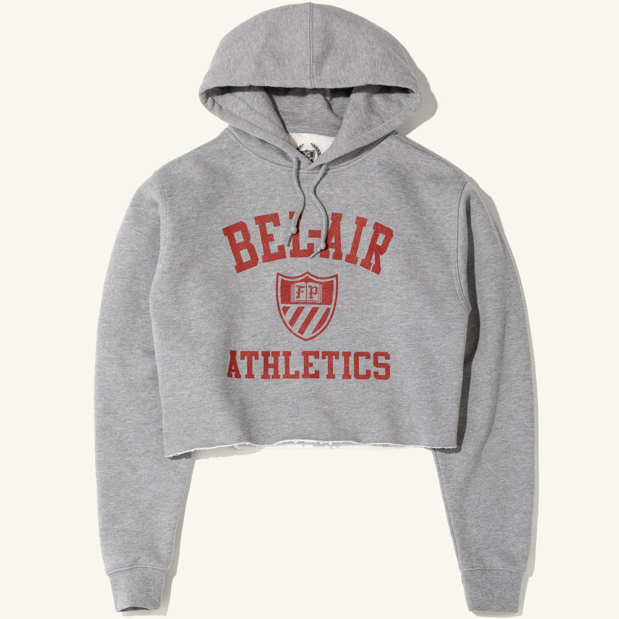 Womens Cropped Hoodie Heather Grey Image  #1