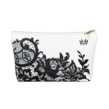 """Black Lace"" by MARIELA Small Makeup/Accessory Pouch w T-bottom"