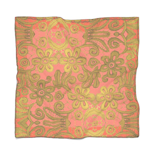 """Gilded Coral Pink"" by MARIELA Chiffon Scarf"