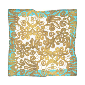 """Gilded Turquoise White"" by MARIELA Chiffon Scarf"