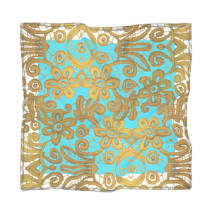 """Gilded White Turquoise"" by MARIELA Chiffon Scarf"