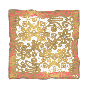"""Gilded Coral White"" by MARIELA Chiffon Scarf"