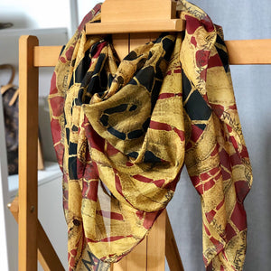 """Gilded Black Cherry Red"" by MARIELA Chiffon Scarf"