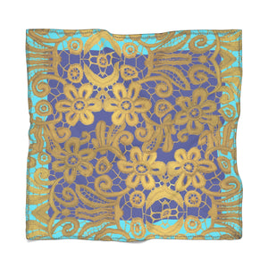 """Gilded Blue Turquoise"" by MARIELA Chiffon Scarf"