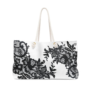 """Black Lace Me"" by MARIELA Shopping/Weekender Bag"