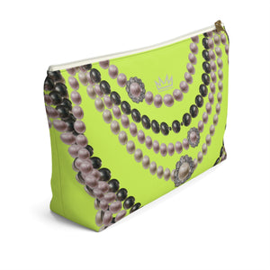 """Duchess Neon Lime"" by MARIELA Large Makeup/Accessory Pouch w T-bottom"