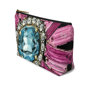 """Bestowed black"" by MARIELA Small Makeup/Accessory Pouch w T-bottom"