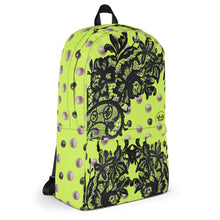 """Black Lace Neon Lime"" by MARIELA Backpack"