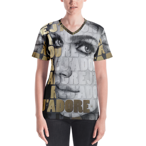 """J'ADORE"" Black, White and Gold by MARIELA, Women's V-neck"