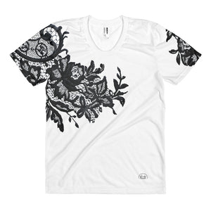 """Black Lace II"" by MARIELA sublimation V-neck t-shirt"