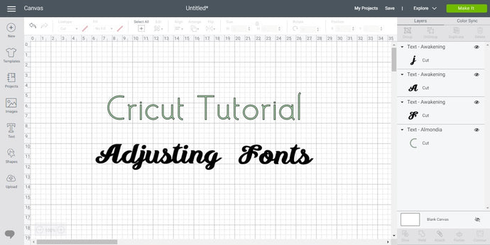 Cricut Design Space Tutorial - Adjusting Text