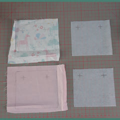 Making book bag wraps, main fabric, complementary fabric and interfacing
