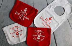 Personalised 'First Christmas' bibs - Little Luna Creations