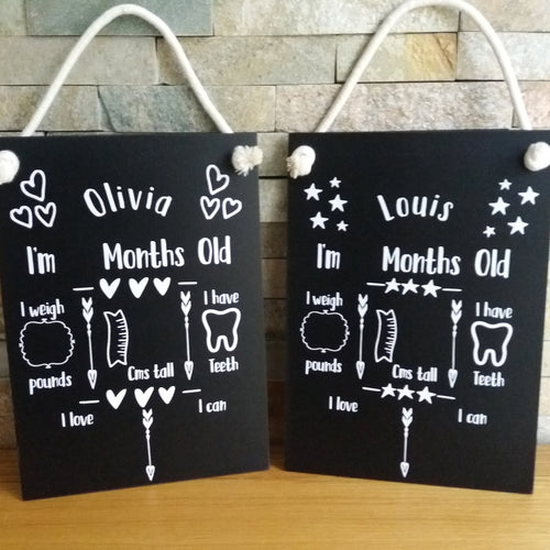 Baby Milestones Chalkboards - Little Luna Creations