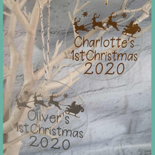 Load image into Gallery viewer, Personalised 'First Christmas' Glass Tree Decoration 2020 - Little Luna Creations