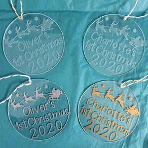 Personalised 'First Christmas' Glass Tree Decoration 2020 - Little Luna Creations